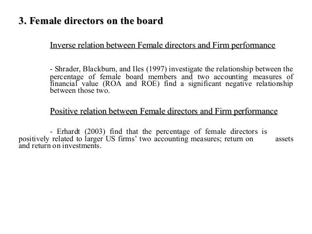 the relationship between board diversity and firm performance Arguments for a positive relationship between board diversity and firm  performance rest upon the notion that the more diverse experience and  information.
