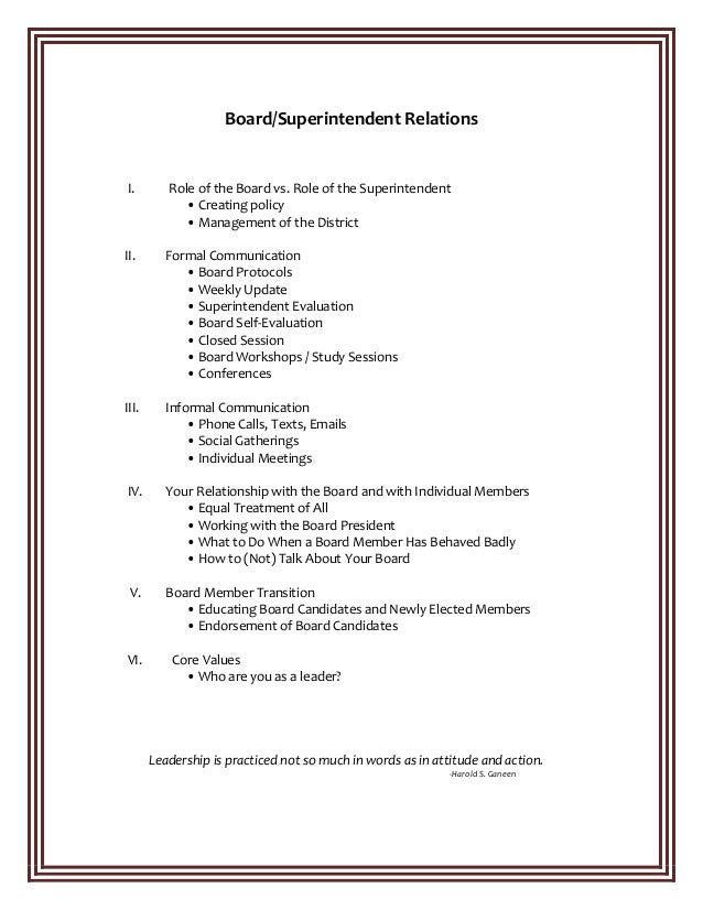 Board/Superintendent  Relations                                           ...