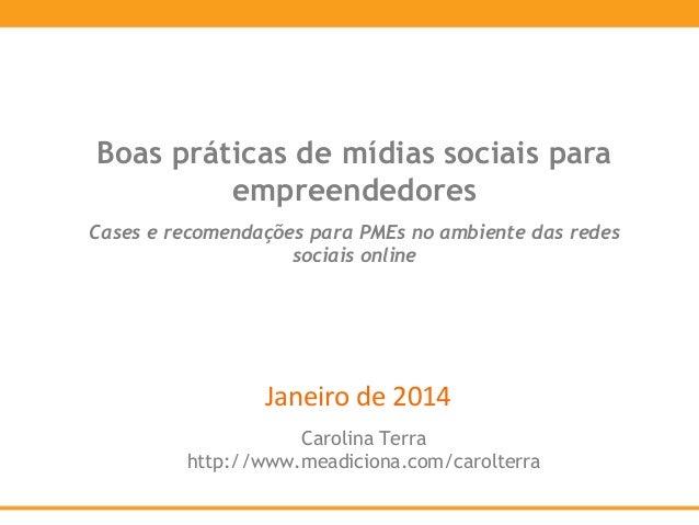 Boas práticas de mídias sociais para empreendedores Cases e recomendações para PMEs no ambiente das redes sociais online  ...