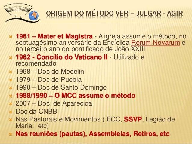  1961 – Mater et Magistra - A igreja assume o método, no septuagésimo aniversário da Encíclica Rerum Novarum e no terceir...