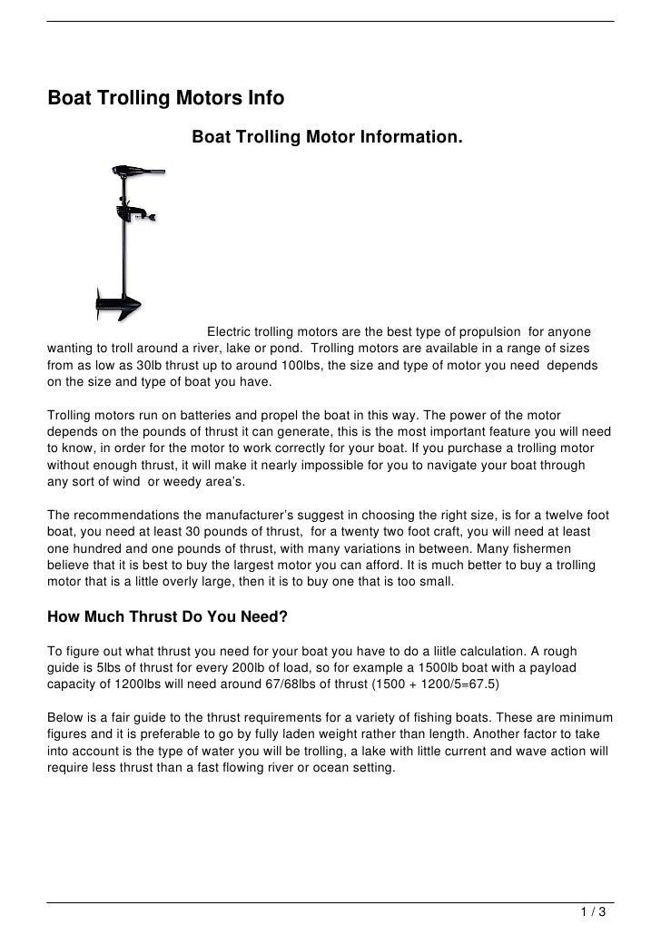 Boat Trolling Motors Info