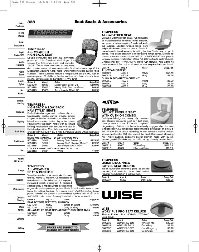 Boat seats catalog