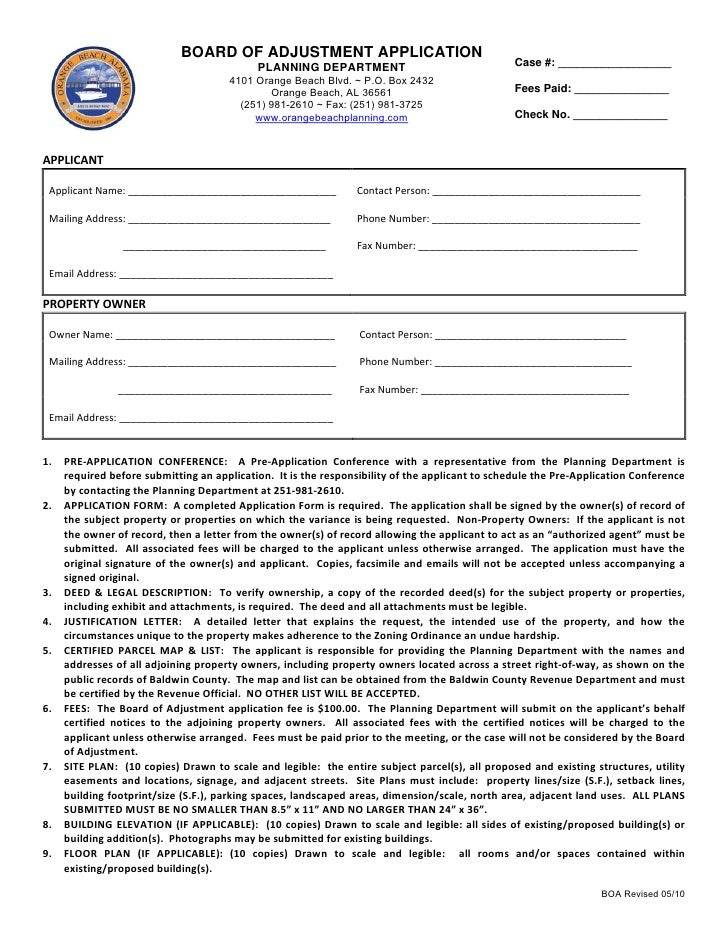 BOARD OF ADJUSTMENT APPLICATION                                                  PLANNING DEPARTMENT                      ...