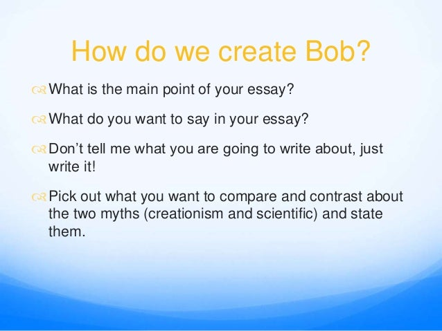 Sample Essays High School Students  Narrative Essay Examples For High School also Cheap Essay Papers Bob The Thesis Statement  Compare And Contrast Essay Essay About Healthy Food
