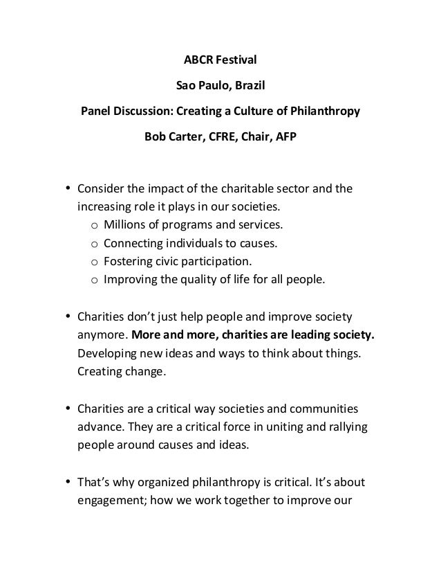 ABCR	  Festival	  	  Sao	  Paulo,	  Brazil	  Panel	  Discussion:	  Creating	  a	  Culture	  of	  Philanthropy	  Bob	  Cart...
