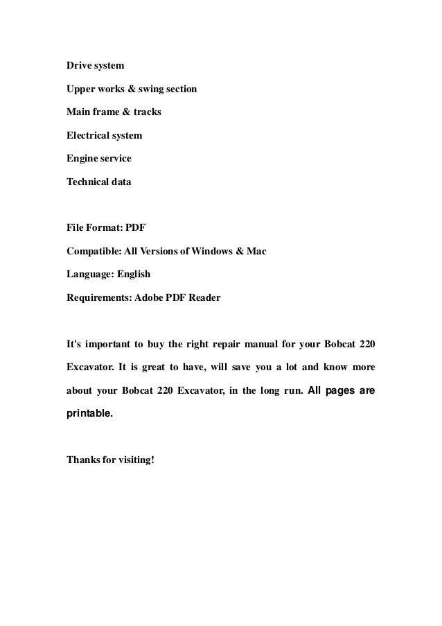 Bobcat 220 excavator service repair manual download (sn 15001 & above) Slide 2