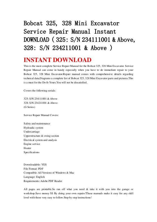 Bobcat 325  328 Mini Excavator Service Repair Manual