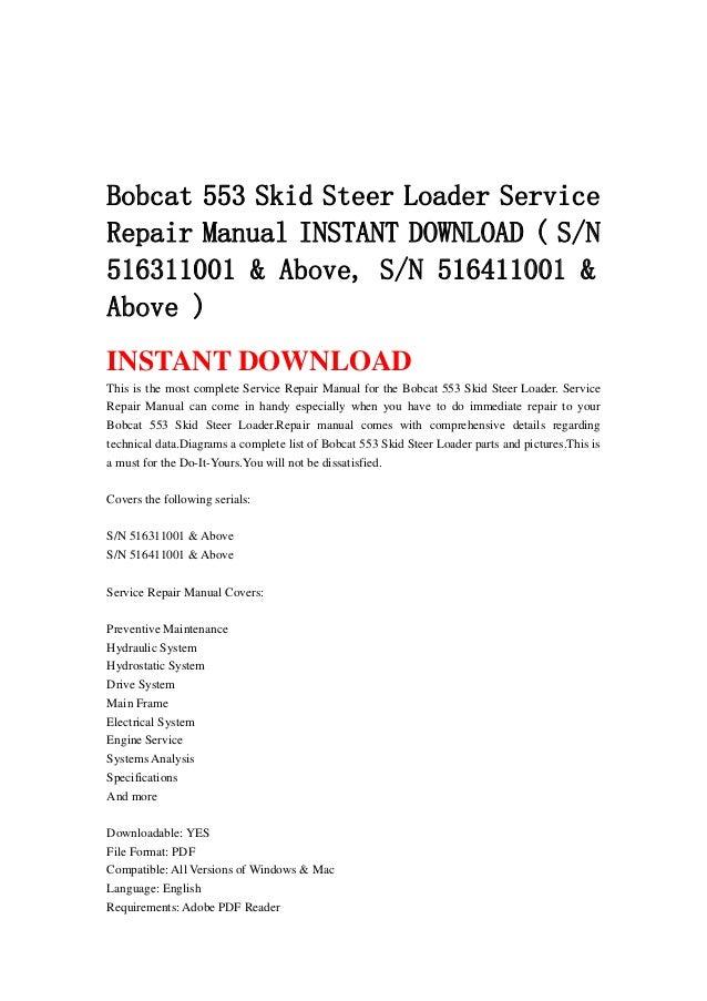 Bobcat 553 skid steer loader service repair manual instant