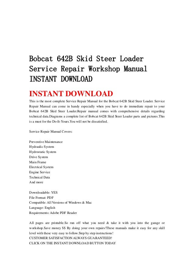 Bobcat 642 B Skid Steer Loader Service Repair Workshop
