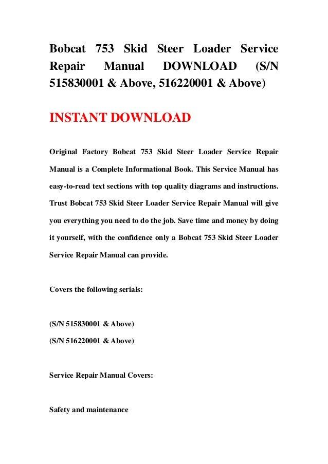 bobcat 753 skid steer loader service repair manual download (sn 51583 Bobcat 753 Loader Diagram bobcat 753 skid steer loader servicerepair manual download (s n515830001 & above, Bobcat 753 Specs