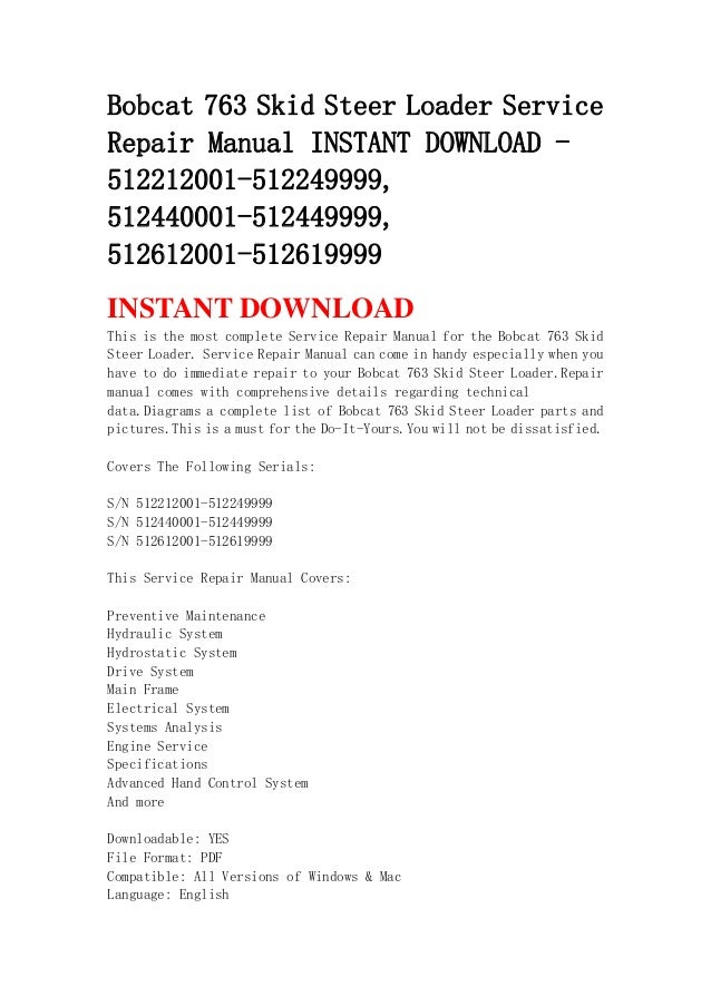 Bobcat 763 Skid Steer Loader Service Repair Manual Instant