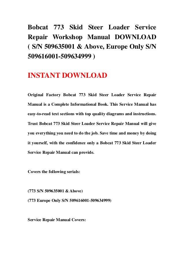 bobcat 773 owners manual