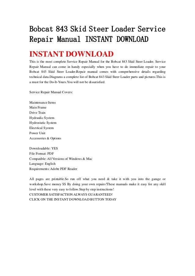 Bobcat 843 Skid Steer Loader Service Repair Manual Instant