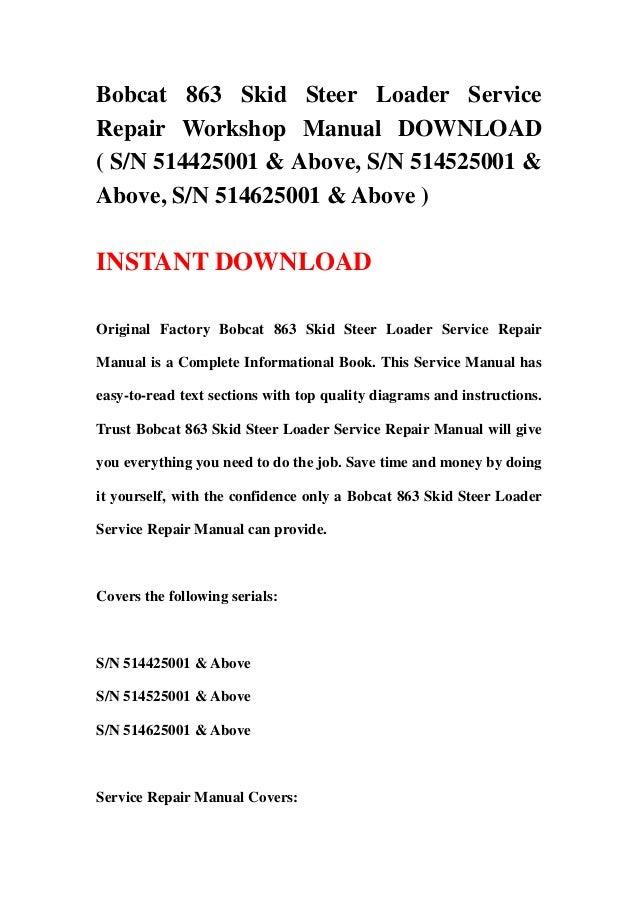 bobcat 863 skid steer loader service repair workshop manual download rh slideshare net