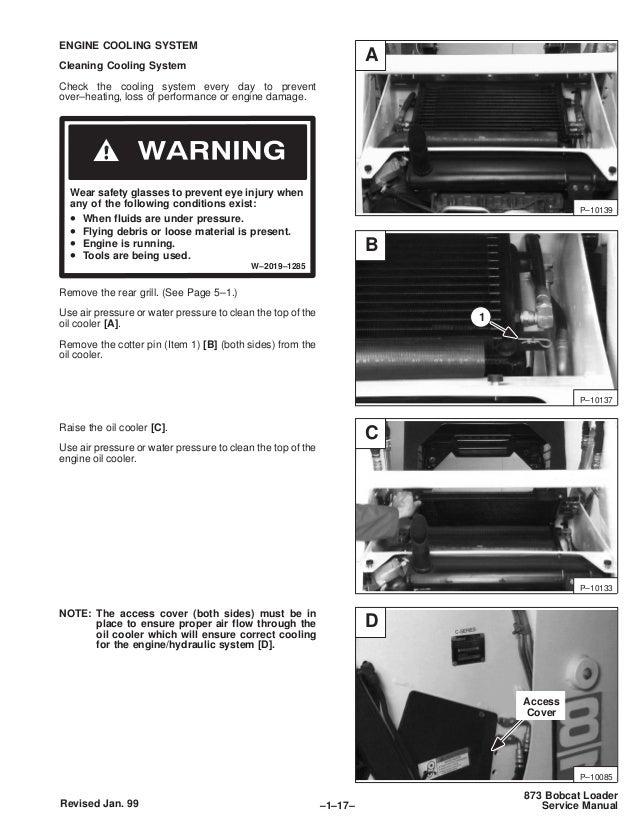 Bobcat 873 skid steer loader service repair manual sn
