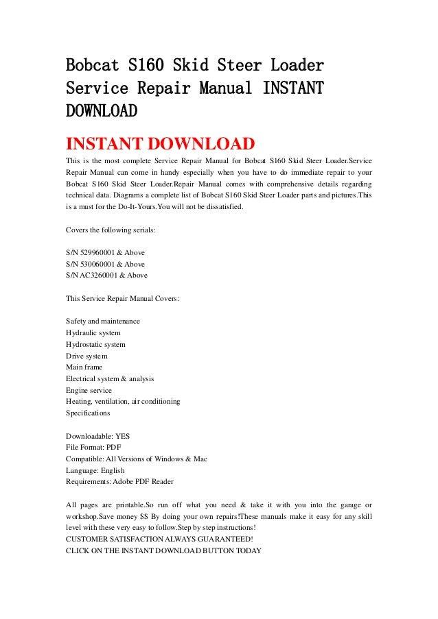 Bobcat S160 Skid Steer Loader Service Repair Manual