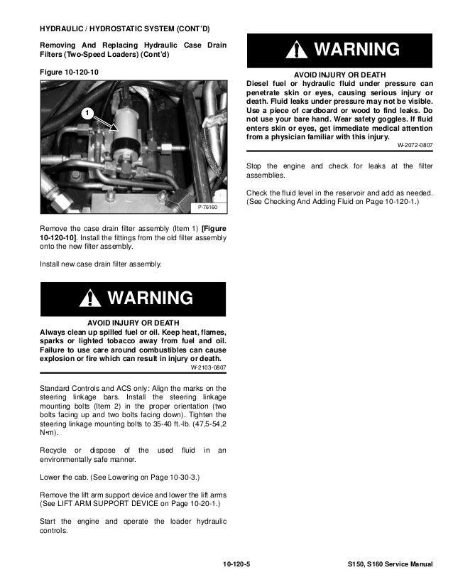 Bobcat s160 skid steer loader service repair manual sn