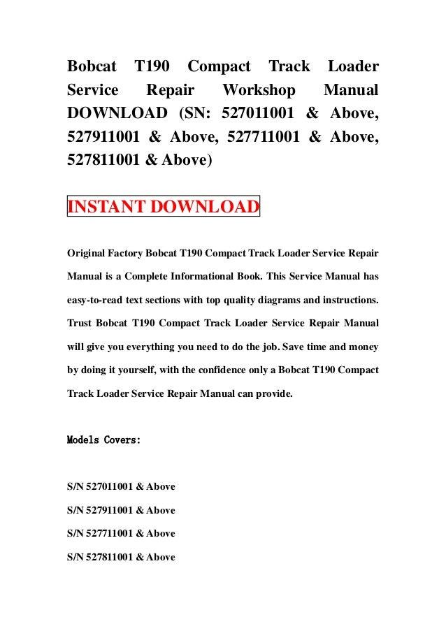 bobcat compact track loader t200 service manual 518915001 517515001 pdf