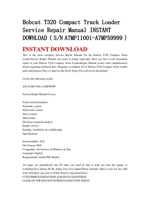 Bobcat 320 repair Manual downloads