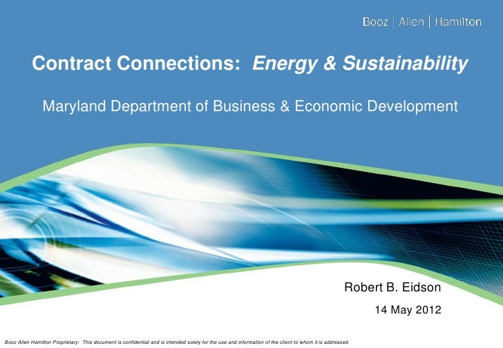 Contract Connections: Energy & Sustainability                Maryland Department of Business & Economic Development       ...