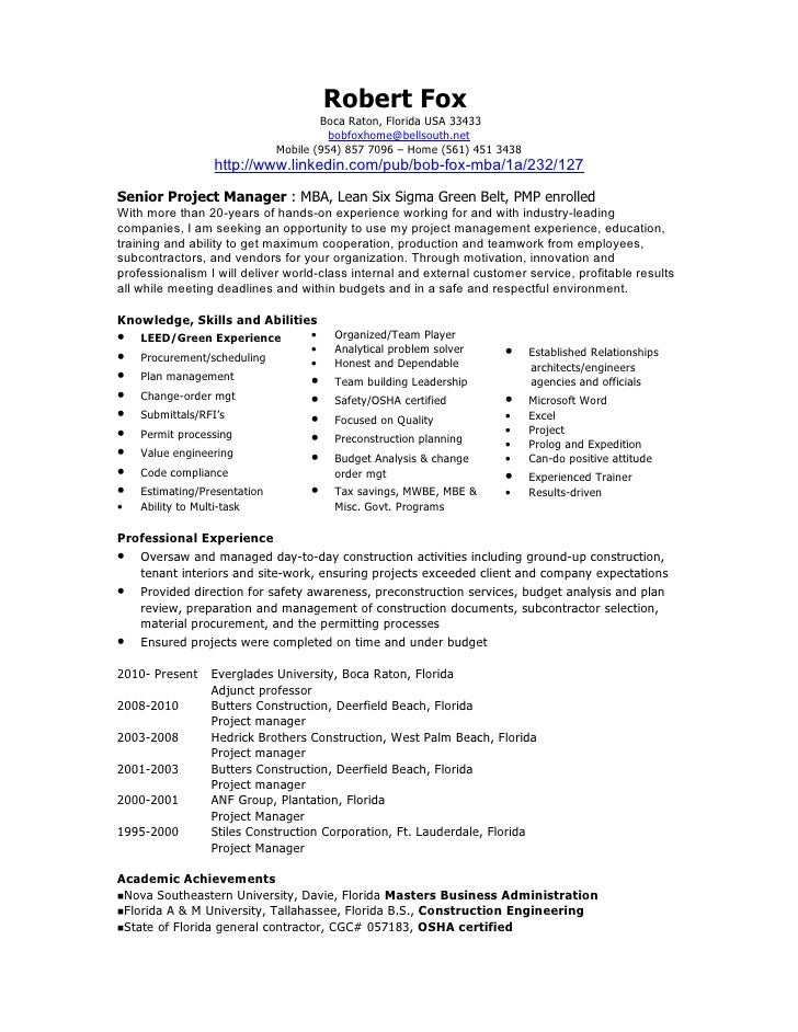 Bob Fox Project Manager Resume Aug 2010. Robert Fox Boca ...