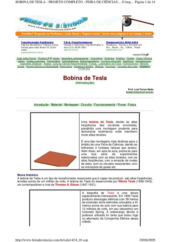 BOBINA DE TESLA - PROJETO COMPLETO - FEIRA DE CIÊNCIAS ... O imp... Página 1 de 14    Transformador PoloElectro           ...