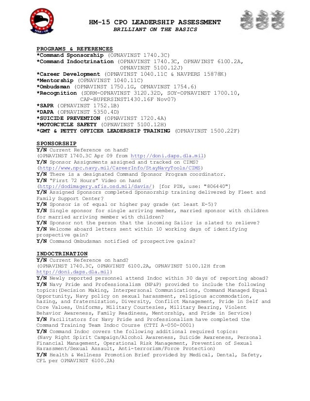 HM-15 CPO LEADERSHIP ASSESSMENT                         BRILLIANT ON THE BASICSPROGRAMS & REFERENCES*Command Sponsorship (...