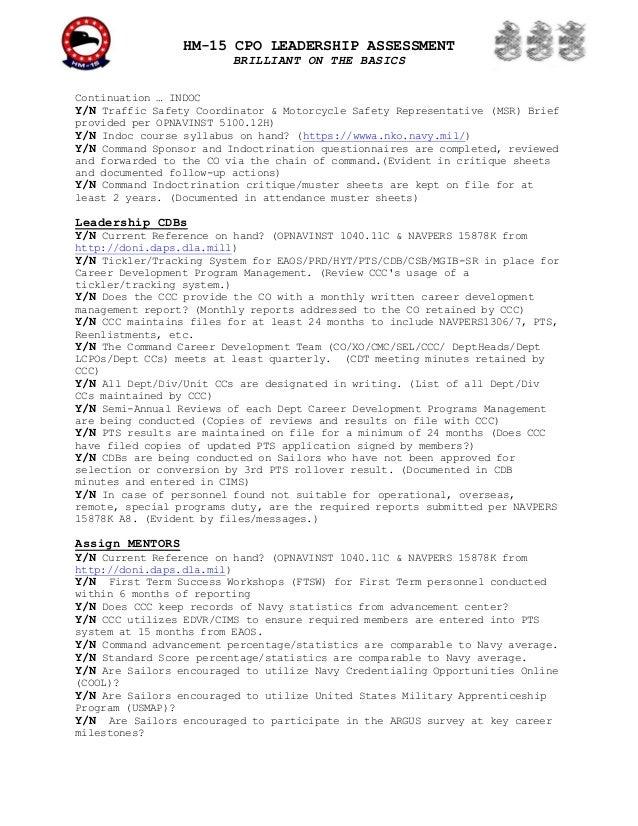 "BLACKHAWKS LCPO ""Brilliant On Basics"" Self-Assessment"