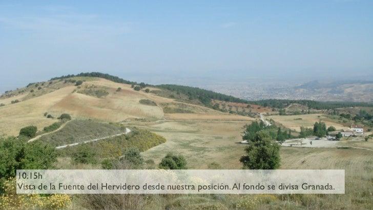 10:15h Vista de la Fuente del Hervidero desde nuestra posición. Al fondo se divisa Granada.