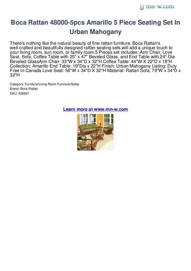 Boca Rattan 48000-5pcs Amarillo 5 Piece Seating Set In                  Urban MahoganyTheres nothing like the natural beau...