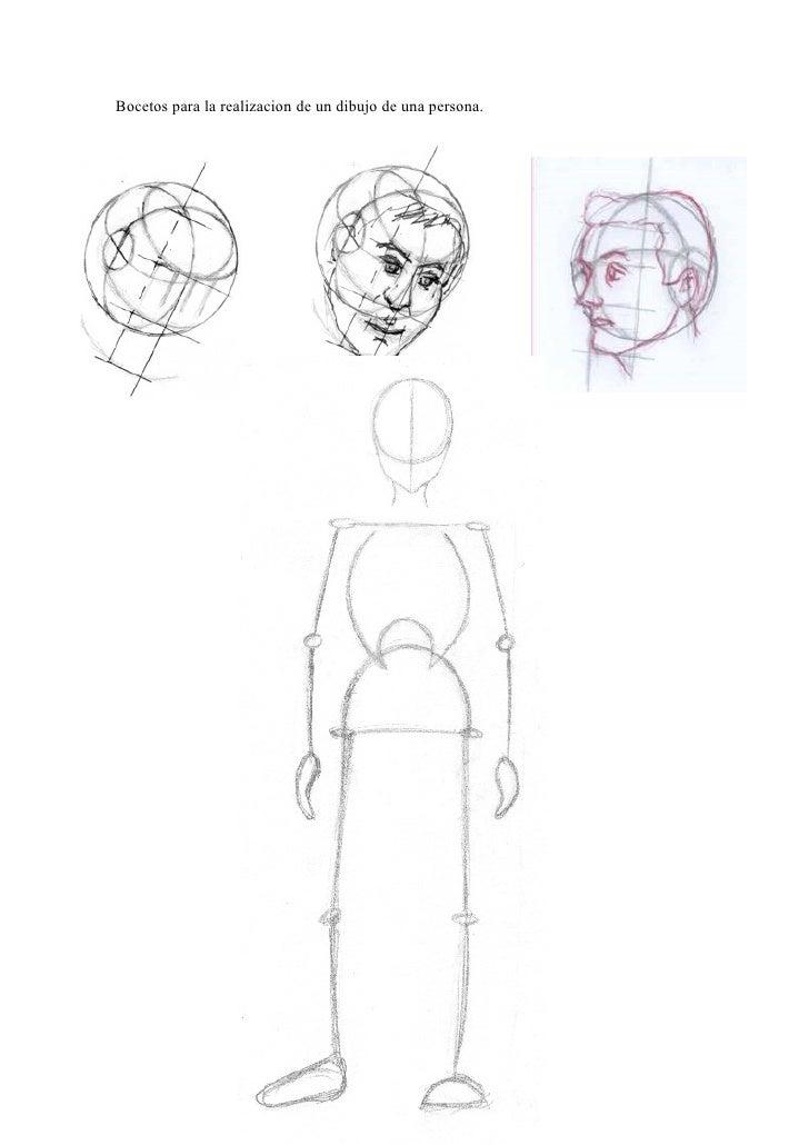 Bocetos para la realizacion de un dibujo de una persona