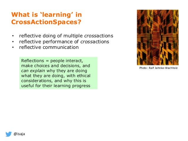 @isaja What is 'learning' in CrossActionSpaces? Photo: Ralf Jahnke-Wachholz Reflections = people interact, make choices an...