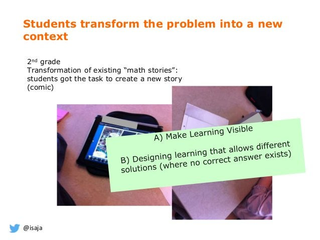 """@isaja Students transform the problem into a new context 2nd grade Transformation of existing """"math stories"""": students got..."""