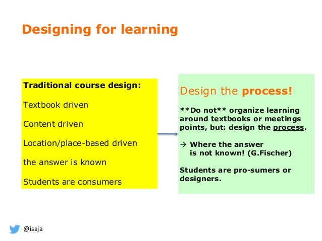 @isaja Designing for learning Design the process! **Do not** organize learning around textbooks or meetings points, but: d...