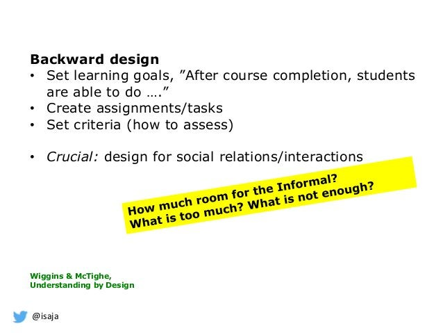 """@isaja Backward design • Set learning goals, """"After course completion, students are able to do …."""" • Create assignments/ta..."""