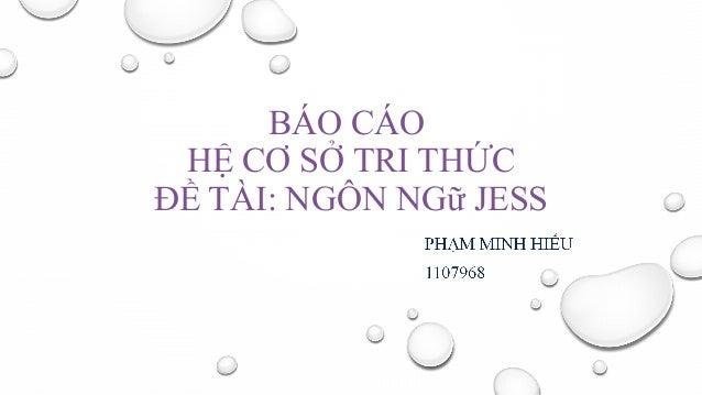 BÁO CÁO HỆ CƠ SỞ TRI THỨC ĐỀ TÀI: NGÔN NGữ JESS