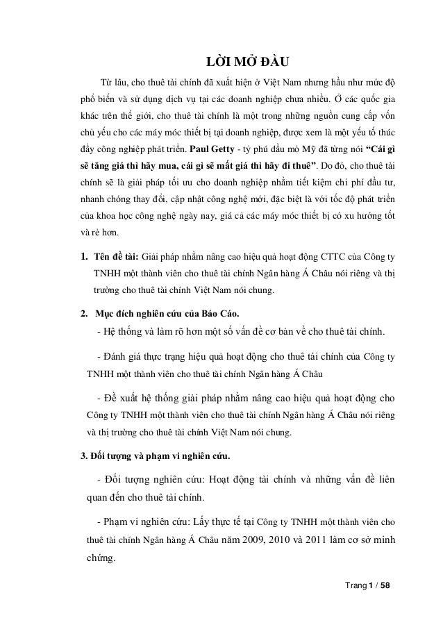 Trang 1 / 58LỜI MỞ ĐẦUTừ lâu, cho thuê tài chính đã xuất hiện ở Việt Nam nhưng hầu như mức độphổ biến và sử dụng dịch vụ t...