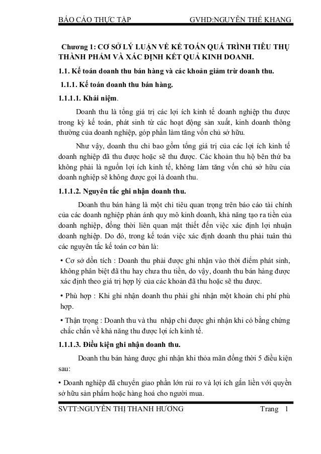BÁO CÁO THỰC TẬP GVHD:NGUYỄN THẾ KHANG Chương 1: CƠ SỞ LÝ LUẬN VỀ KẾ TOÁN QUÁ TRÌNH TIÊU THỤ THÀNH PHẨM VÀ XÁC ĐỊNH KẾT QU...