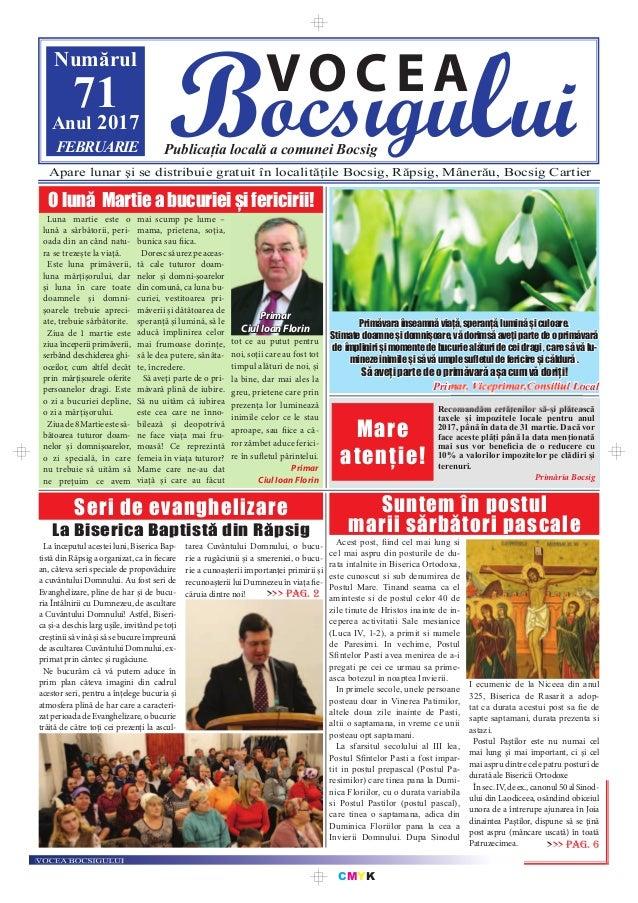CMYK Bocsigului VOCEA Publicația locală a comunei Bocsig Numărul 71Anul 2017 FEBRUARIE Apare lunar şi se distribuie gratui...