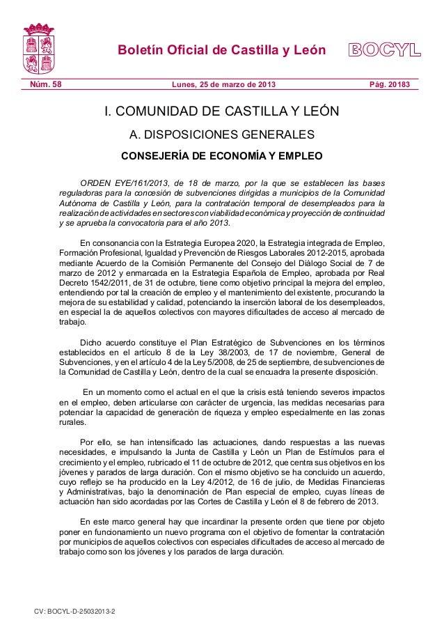 Boletín Oficial de Castilla y LeónNúm. 58                               Lunes, 25 de marzo de 2013                        ...
