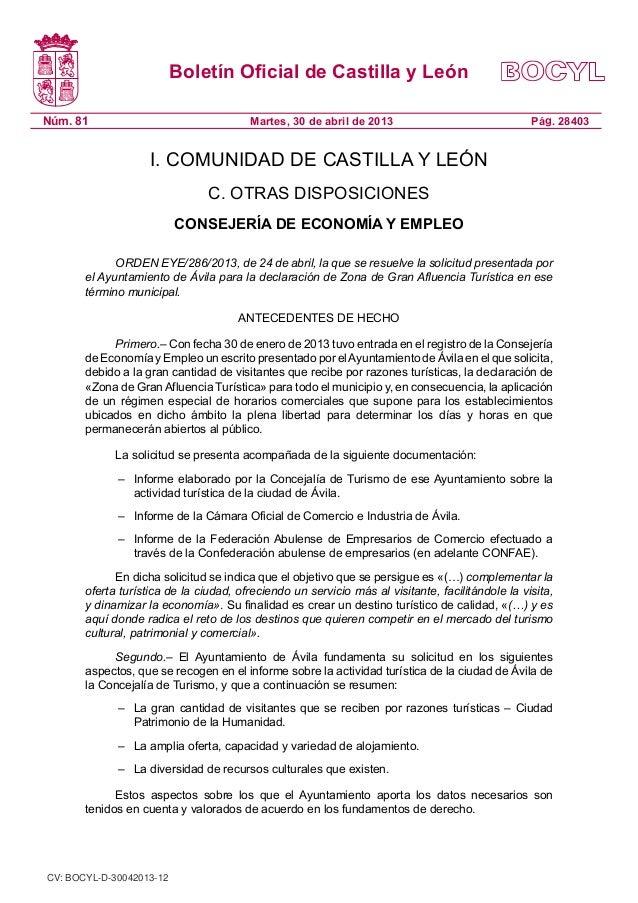 Boletín Oficial de Castilla y LeónNúm. 81 Pág. 28403Martes, 30 de abril de 2013I. COMUNIDAD DE CASTILLA Y LEÓNC. OTRAS DIS...
