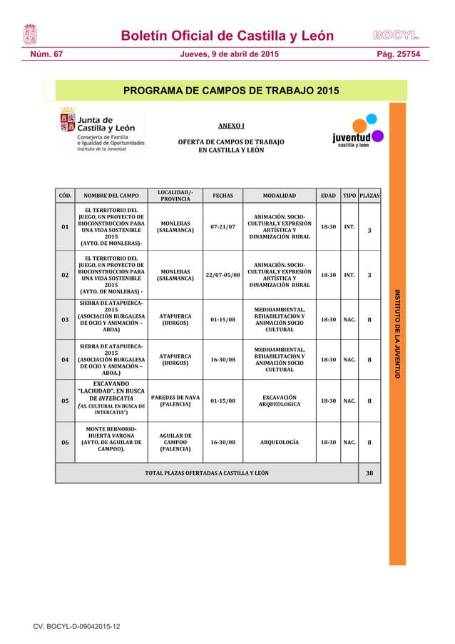 Boletín Oficial de Castilla y León Núm. 67 Pág. 25754Jueves, 9 de abril de 2015 INSTITUTODELAJUVENTUD PROGRAMA DE CAMPOS D...