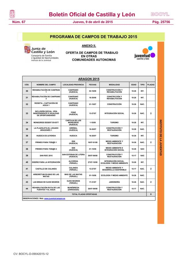 Boletín Oficial de Castilla y León Núm. 67 Pág. 25756Jueves, 9 de abril de 2015 INSTITUTODELAJUVENTUD PROGRAMA DE CAMPOS D...