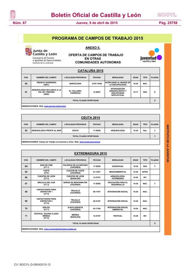 Boletín Oficial de Castilla y León Núm. 67 Pág. 25758Jueves, 9 de abril de 2015 INSTITUTODELAJUVENTUD PROGRAMA DE CAMPOS D...