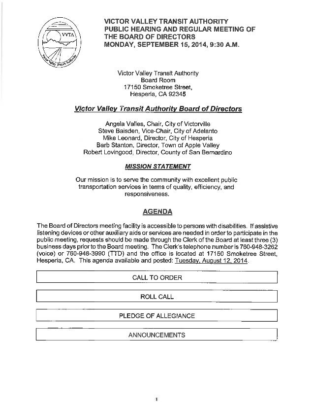 Vvta Board Of Directors Meeting Agenda - September 15, 2014