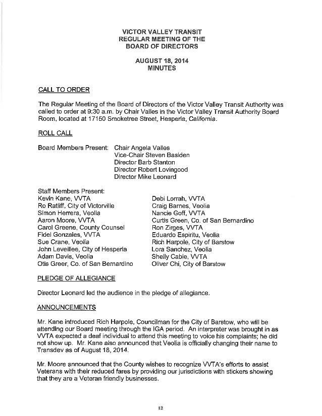 Vvta Board Of Directors Meeting Agenda   September 15, 2014