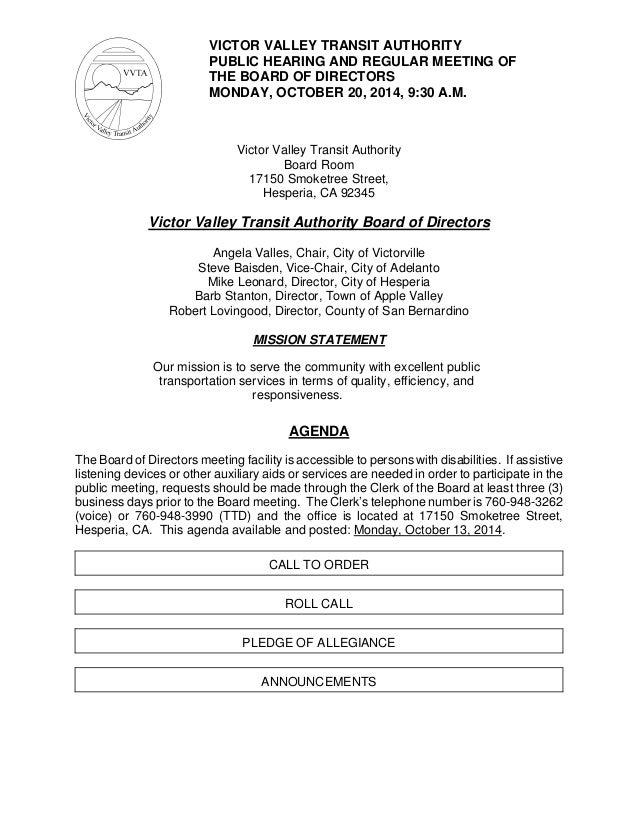 VVTA Board Of Directors Meeting Agenda October 20 2014 – Board Meeting Agendas