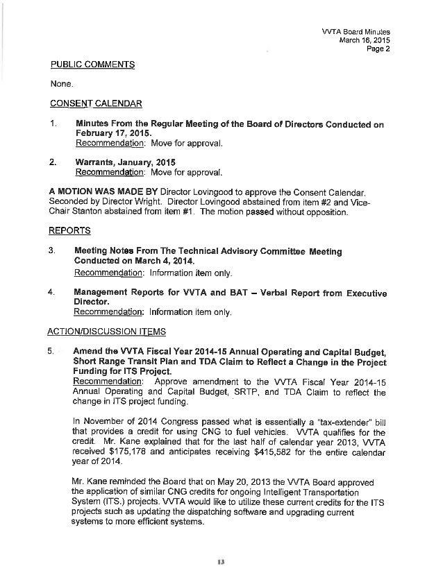 Vvta Board Of Directors Meeting Agenda April 20 2015