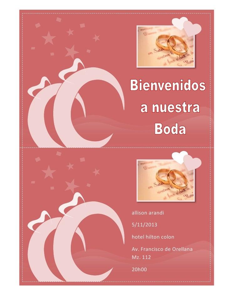 allison arandi5/11/2013hotel hilton colonAv. Francisco de OrellanaMz. 11220h00