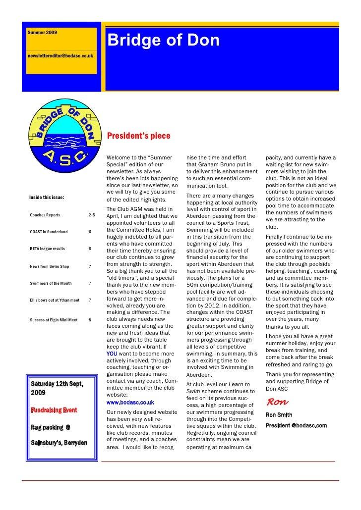 Summer 2009                                        Bridge of Don newslettereditor@bodasc.co.uk                            ...